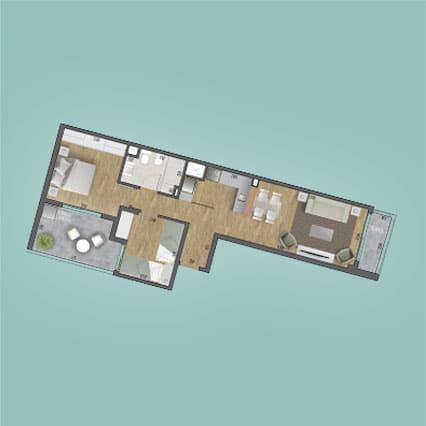 Imagen del Plano de las Unidad 101 del Edificio BV2031 de Foquier Desarrollos Inmobiliarios