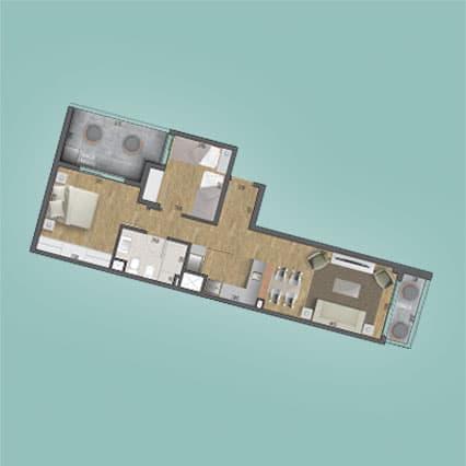 Imagen del Plano de las Unidad 104 del Edificio BV2031