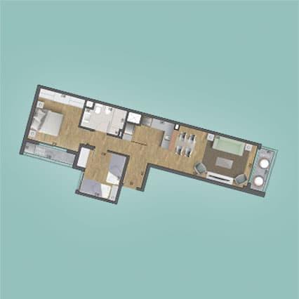 Imagen del Plano de las Unidades 201, 301, 401, 501, 601, 701, 801, 901, 1001 y 1101 del Edificio BV2031