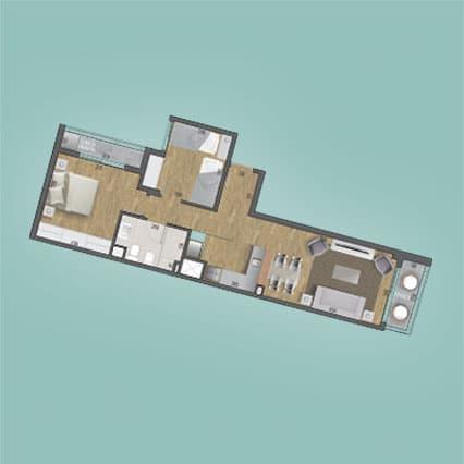Imagen del Plano de las Unidades 204, 304, 404, 504, 604, 704, 804, 904, 1004 y 1104 del Edificio BV2031