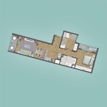 Imagen del Plano de las Unidades 205, 305, 405, 505, 605, 705, 805, 905, 1005 y 1105 del Edificio BV2031