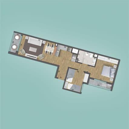 Imagen del Plano de las Unidades 208, 308, 408, 508, 608, 708, 808, 908, 1008 y 1108 del Edificio BV2031