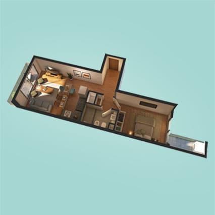 Imagen Axionométrica de las Unidades 109, 209, 309, 409 y 509 del Edificio U3031