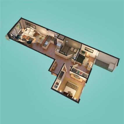 Imagen Axionométrica de las Unidades 101, 201, 301, 401 y 501 del Edificio U3031